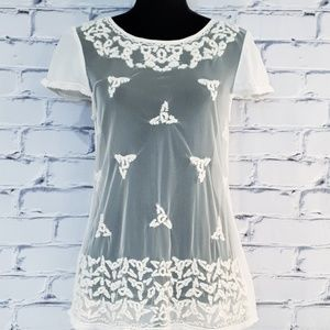Anthropologie Maeve Sheer Lace Cream Blouse Size 6
